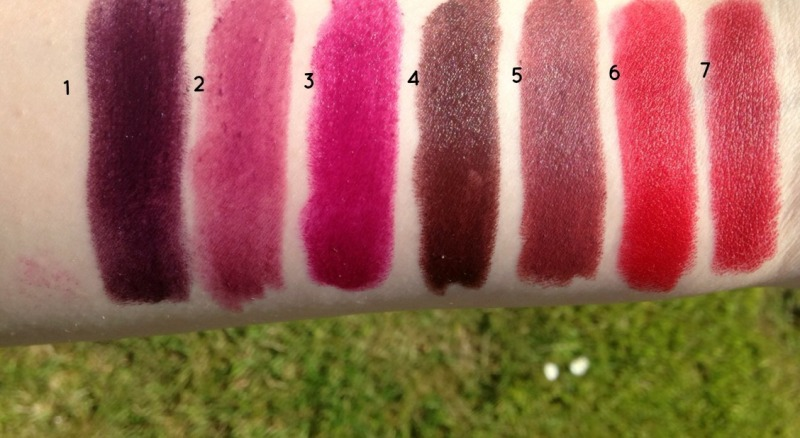 lipstick swatches - darks